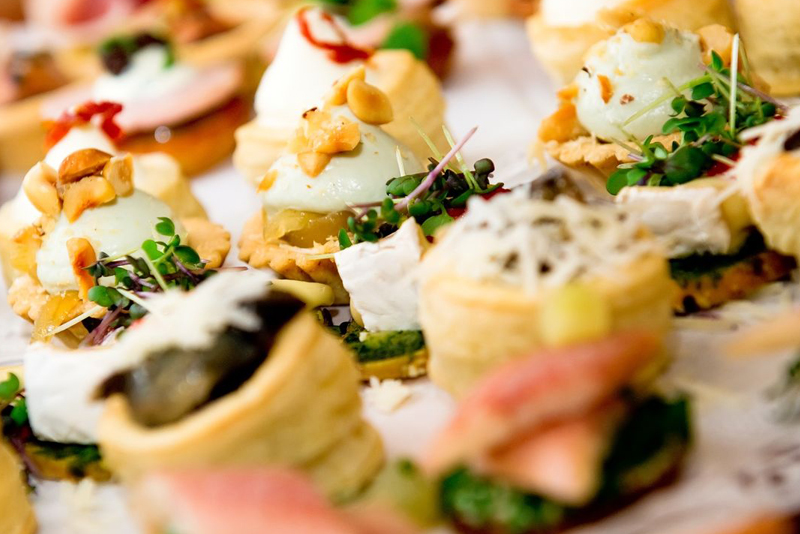 close-up of a canapes selection