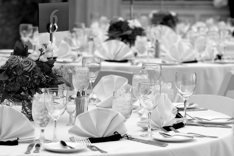 A table setting at a wedding